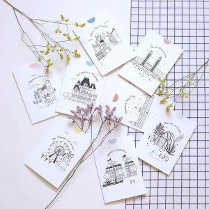 Lot de cartes postales originale Lyon avec des branche fleuries