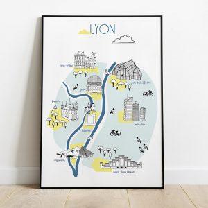 Affiche lyon couleur jaune et bleu gros plan